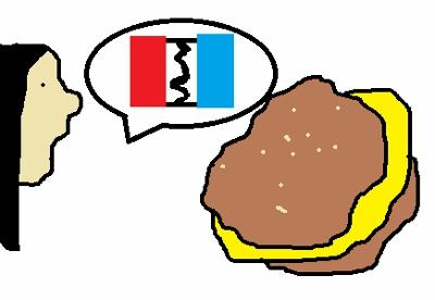 Girl and hamburger